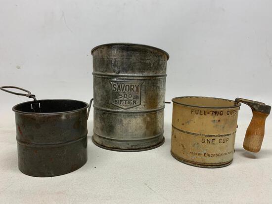 (3) Vintage Flour Sifters