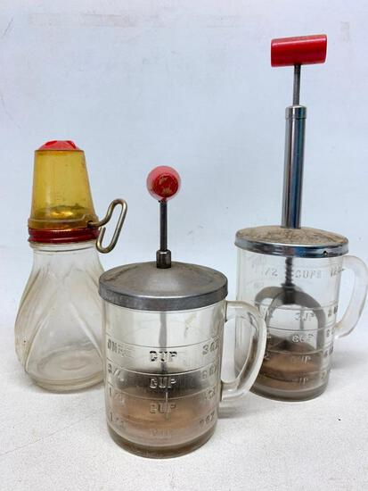 (3) Vintage Choppers: 1 & 2 Cup + Nut Chopper