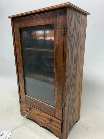 Small Antique Oak Curio Cabinet