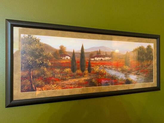 Framed Print Of Italian Countryside W/Flowers & Buildings