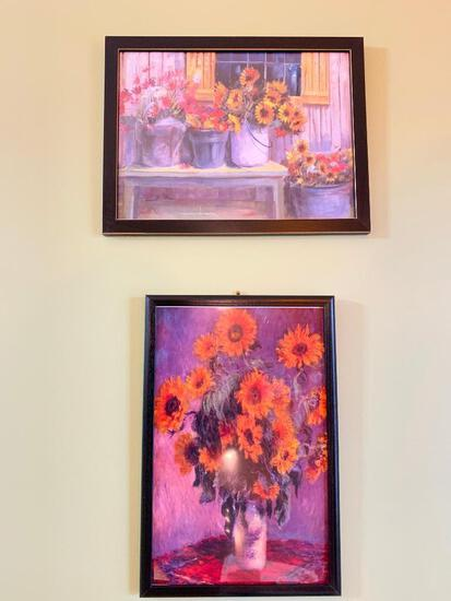 (2) Framed Prints W/Flowers
