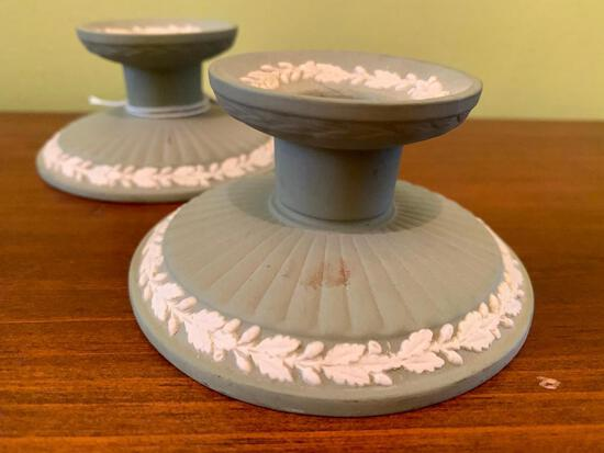 (2) Matching Wedgwood Low Candle Holders
