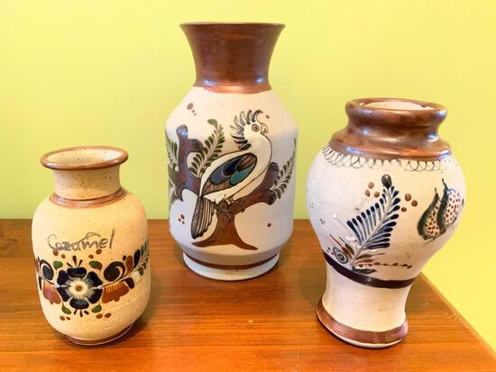 (3) Hand Painted Pottery Vases From Mexico