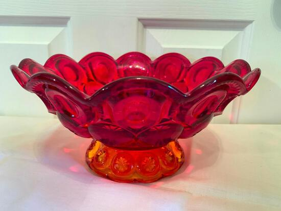 "Amberina Glass Bowl In ""Thumb & Stars"" Pattern"