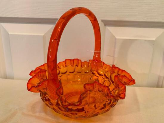 Vintage Glass Handled Basket W/Ruffled Edge