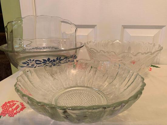 (4) Glass Serving Bowls