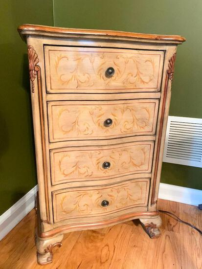 Nice 4-Drawer Decorator Stand W/Stenciled Design