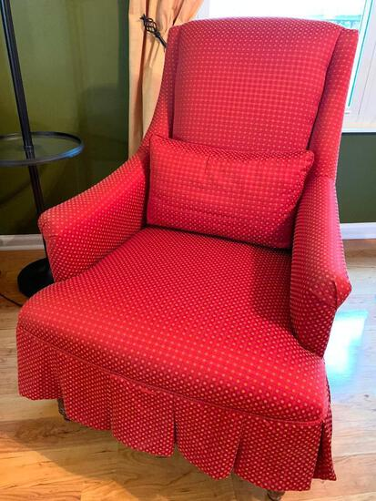 High-Back Upholstered Arm Chair W/Matching Decorator Cushion