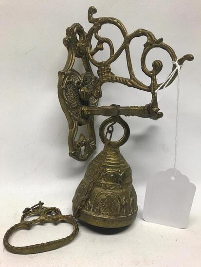Brass Wall Mount Embossed Bell