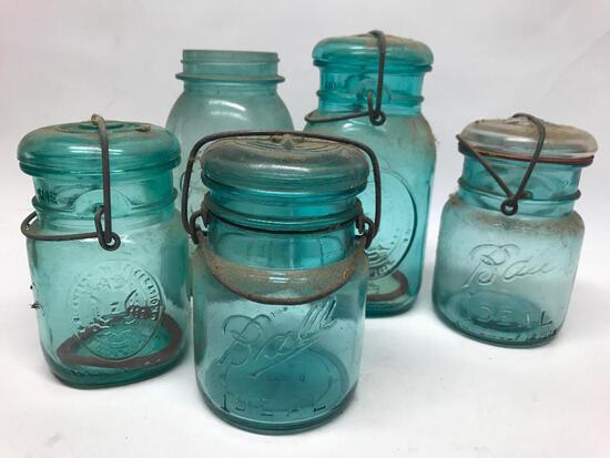 (3) Pint & (2) Qt. Aqua Canning Jars