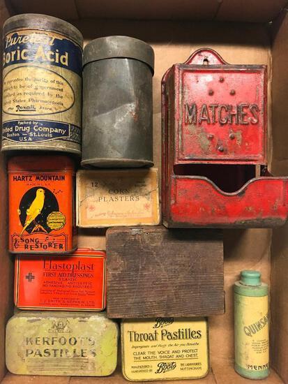 Group Of Vintage Tins & Match Holder