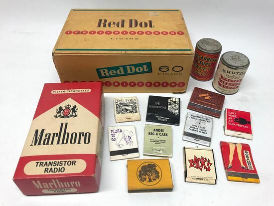 Tobacco Group: Red Dot Cigar Box & (2) Unopened Snuff Tins