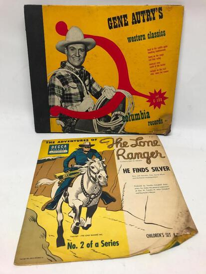 1950's Gene Autry Record Set + Lone Ranger Record In Sleeve
