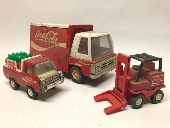 Vintage Buddy L Coca-Cola Delivery Trucks & Fork Lift