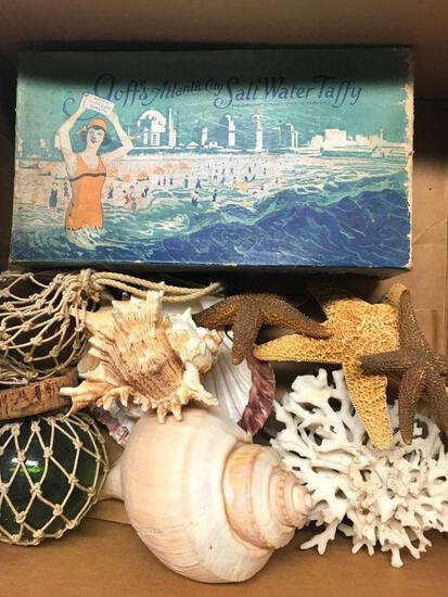 Vintage Atlantic City Taffy Box + Sea Shells & Float Balls