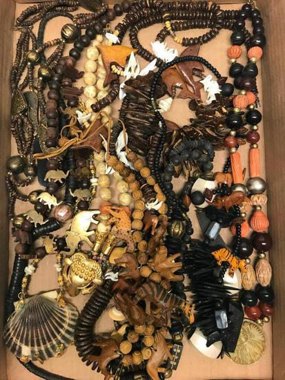 Group Of Carved & Fashion Necklaces