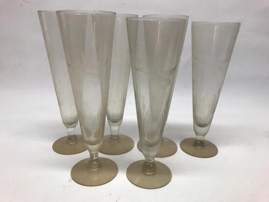 (6) Pilsner Beer Glasses W/Etched Geese