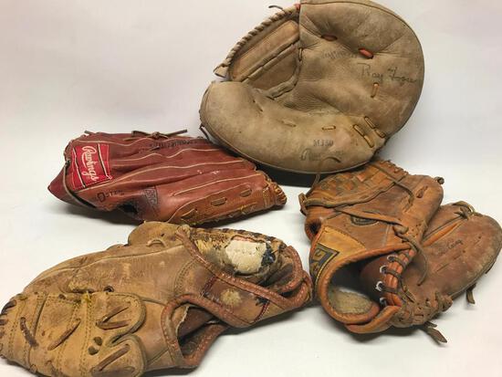 (4) Vintage Baseball Gloves