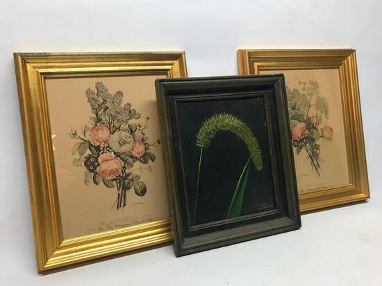 (2) Framed Floral Prints & Donna Zeller Oil On Board