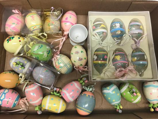 Older Decorated Wooden and Glass Eggs