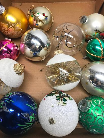 Group Of (12) Larger Size Glass Christmas Ornaments
