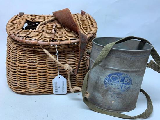 Vintage Fishing Creel & Minnow Bucket