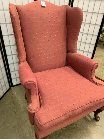 Maroon Wing-Back Chair