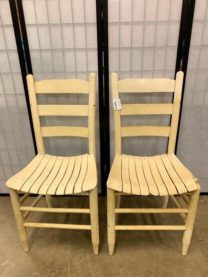 Pair Of Antique Chairs W/Slat Seats Painted White