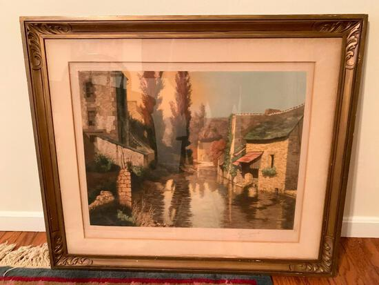"Artist Signed Original Etching Of ""Sunset At Pont-Aven, Brittany, France"" W/Original Tag"