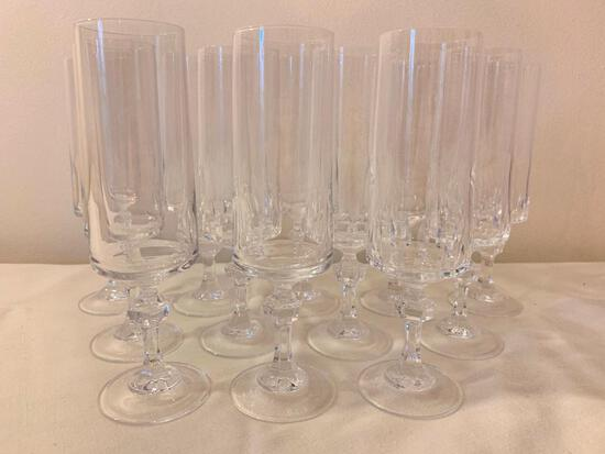 Set Of (12) Crystal Stemmed Champagne Glasses