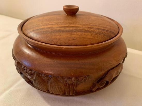 Carved Monkey Pod Wood Lidded Bowl W/Water Buffalo