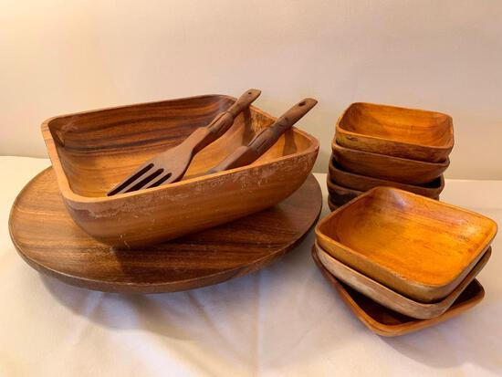 (11) Pc. Monkey Pod Wood Salad Set