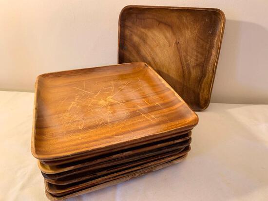 (10) Monkey Pod Wood Plates
