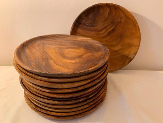 (12) Monkey Pod Wood Round Plates