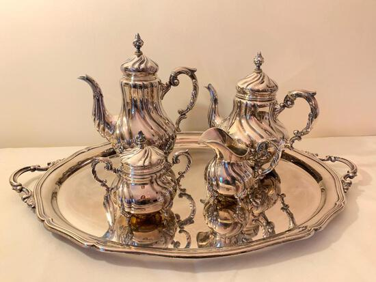 "5-Pc. Silverplated Tea Service Signed ""Alpaca"" In Swirl Pattern"
