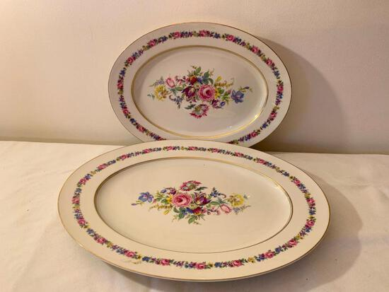 "(2) Castleton Porcelain Oval Platters ""Manor"" Pattern"