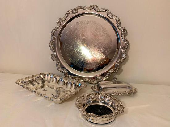 (3) Silverplated Serving Items