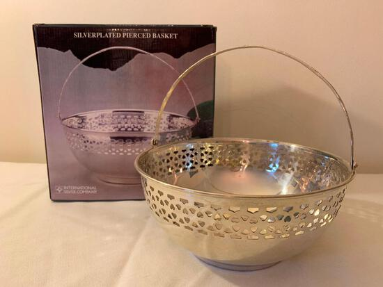 Silverplated Pierced Basket W/Box By International Silver Company