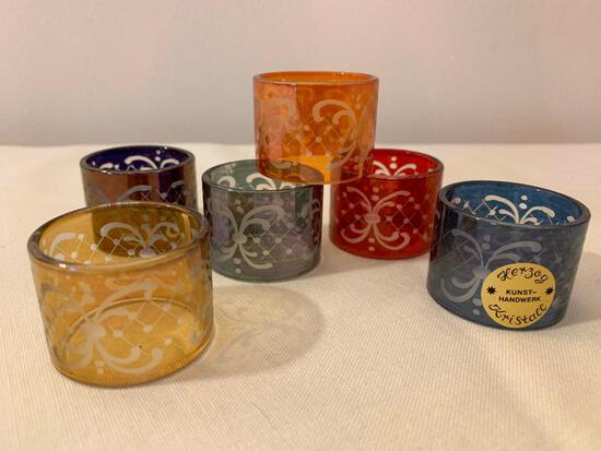 (6) Etched Multi-Colored Bohemian Napkin Rings