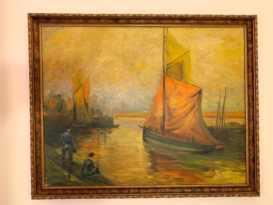 Vintage Oil On Canvas W/Sailing Ships & Dock Scene-Unsigned