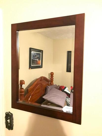 Wood Framed Beveled Wall Mirror