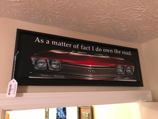 Framed Vintage Chevrolet Car (Silkscreen On Canvas)