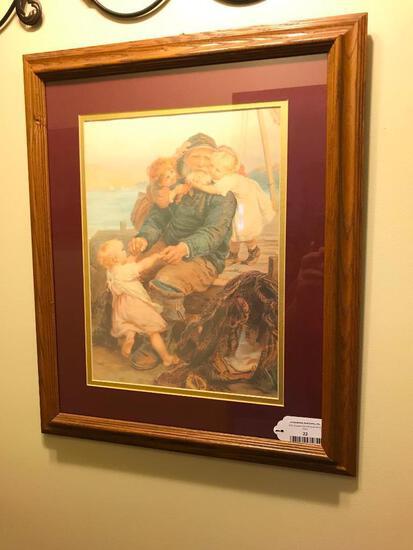 Oak Framed Print Of Sailor & Children