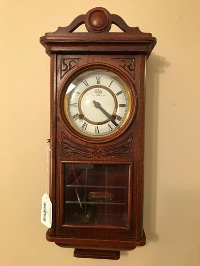 Oak Cased Wall Clock By Time Mfg.