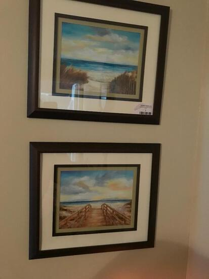 (2) Beach Prints Are Framed & Matted
