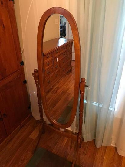 Wood Framed Chevel Floor Mirror