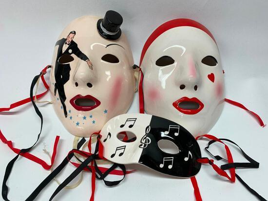 (3) Hand Painted Ceramic Mardi Gras Masks