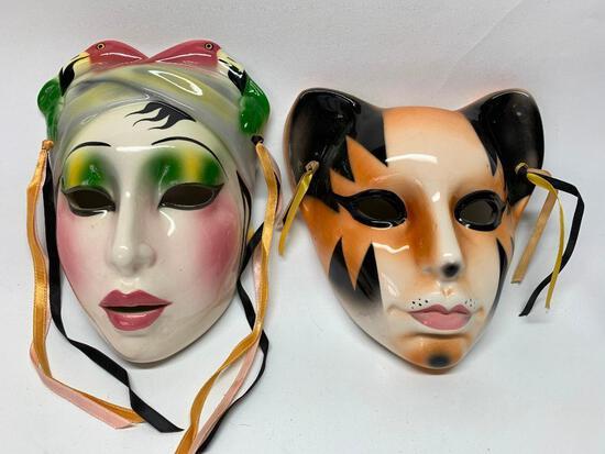 (2) Hand Painted Mardi Gras Ceramic Masks