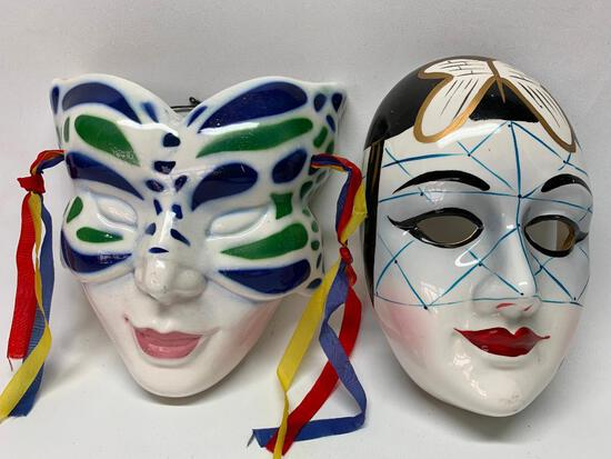 (2) Hand Painted Ceramic Mardi Gras Masks