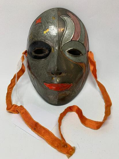 Hand Painted Brass Mardi Gras Mask